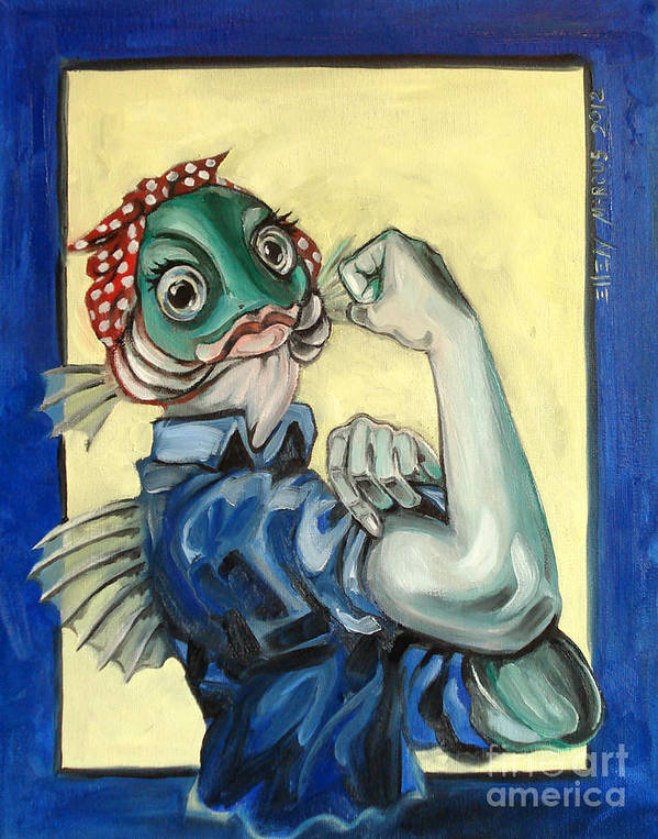 Satire Poster featuring the painting The Fishes Can Do It by Ellen Marcus