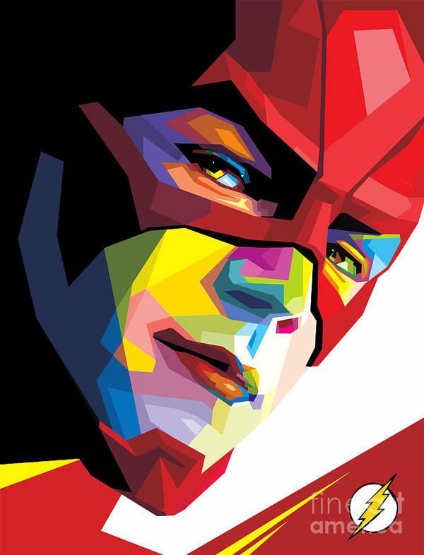 The Flash Poster featuring the digital art The Flash Colorful Pop Art by Madiaz Roby