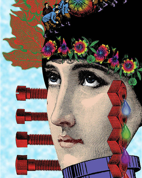 Digital Collage Poster featuring the digital art The Flow Of Memory by Eric Edelman