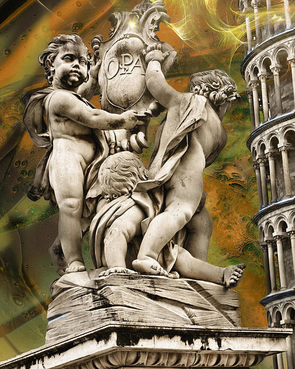 Poster featuring the photograph The Fountain With Angels Pisa - La Fontana Dei by Robert Michaels