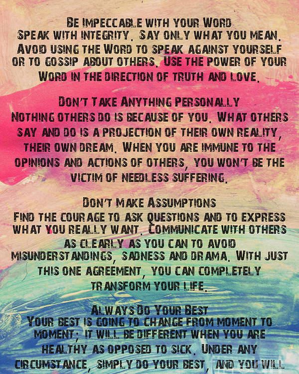 The Four Agreements 11 Poster By Andrea Anderegg