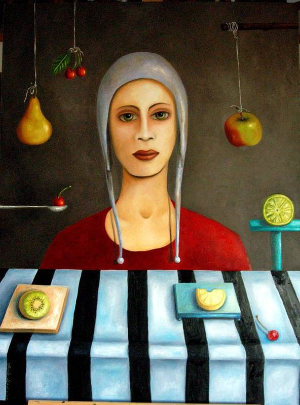Fruit Poster featuring the painting The Fruit Collector by Leah Saulnier The Painting Maniac