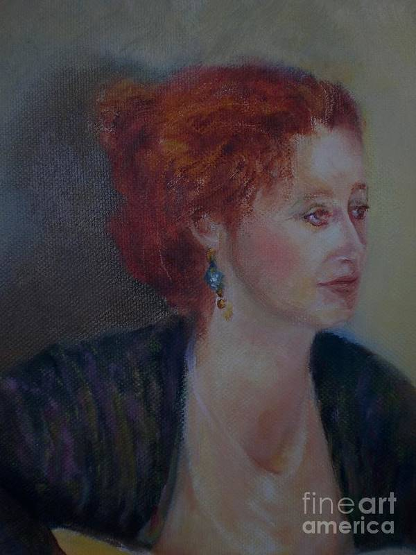 Female Portrait Poster featuring the painting The Galway Shawl      Copyrighted by Kathleen Hoekstra