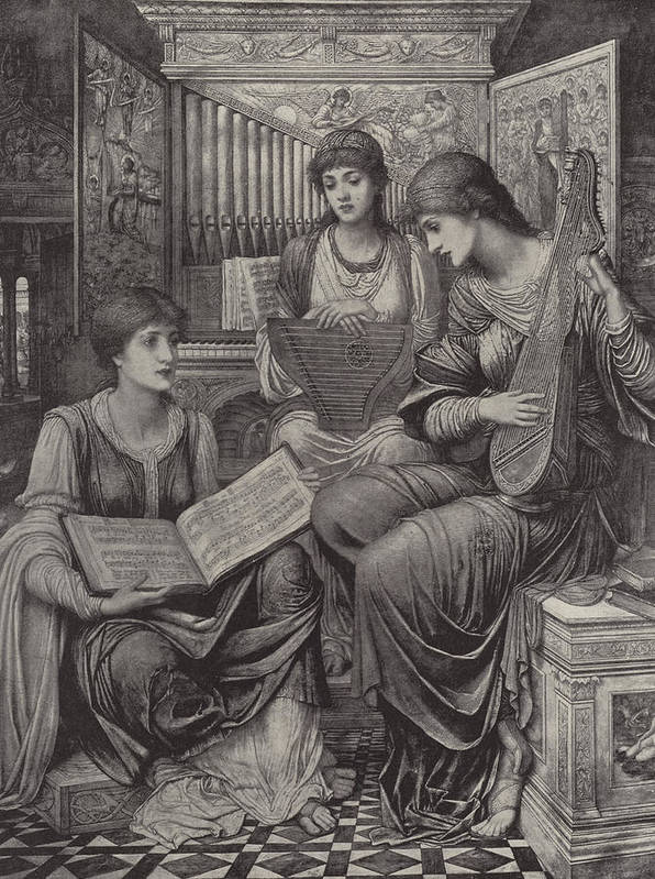 The Gentle Music Of The Bygone Day Poster featuring the drawing The Gentle Music Of The Bygone Day by John Melhuish Strudwick