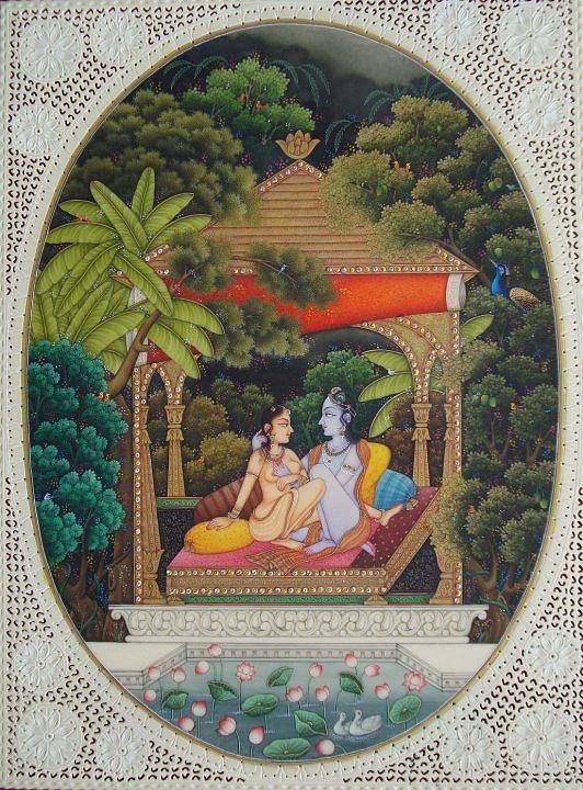 Indian Miniature Poster featuring the painting The Golden Hut by Devendra Sharma