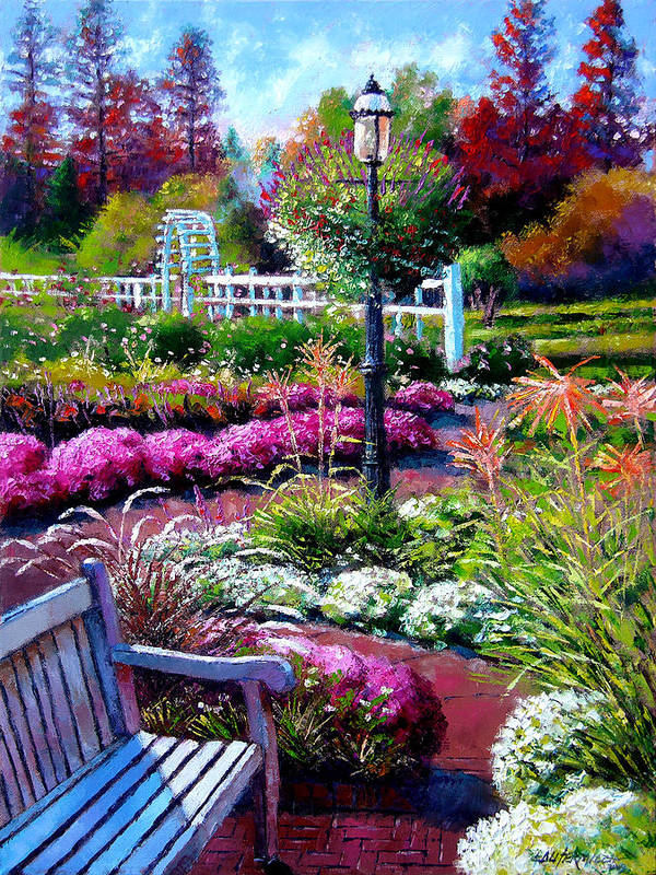 Garden Path Poster featuring the painting The Golden Season by John Lautermilch