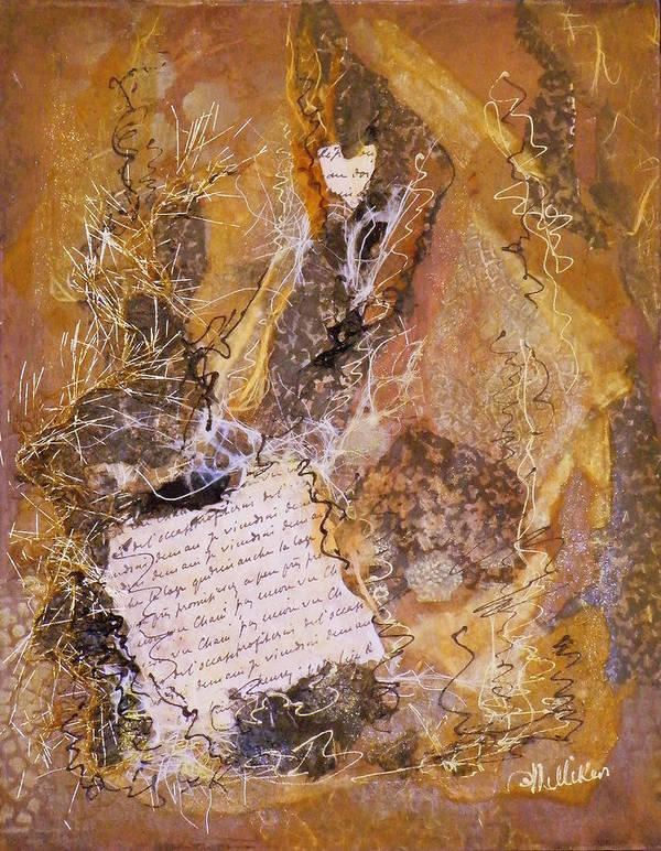 Mixed Media Poster featuring the painting The Golden Word by Tara Milliken