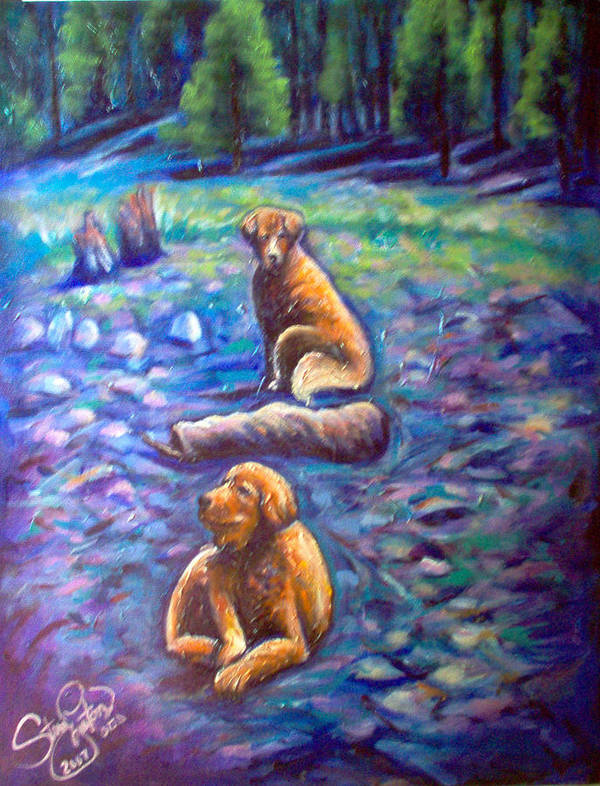 Animals Poster featuring the painting The Golden's by Steve Lawton