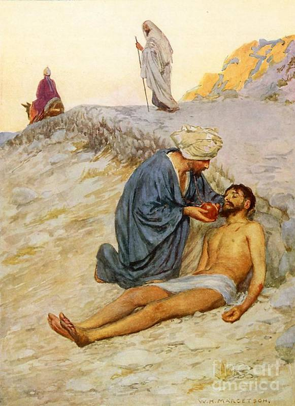 Bible Poster featuring the painting The Good Samaritan by William Henry Margetson