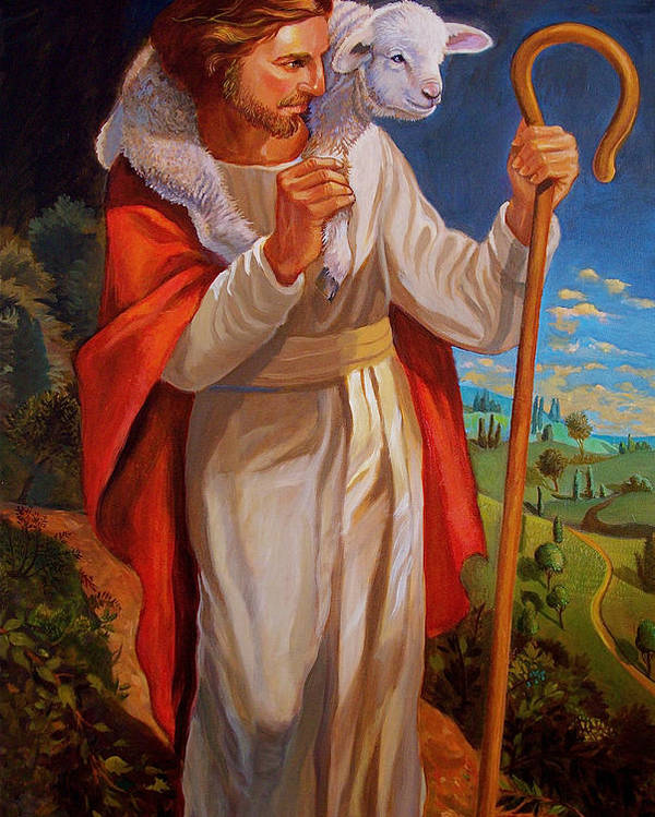 Jesus Painting As Shepherd With Lamb Poster featuring the painting The Good Shepherd by Alan Carlson
