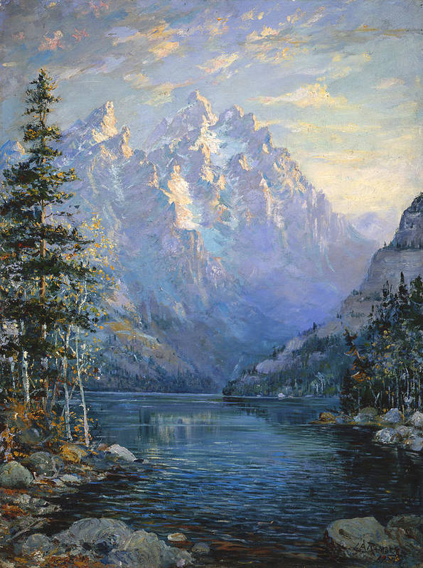 Wyoming Poster featuring the painting The Grand Tetons And Jenny Lake by Lewis A Ramsey