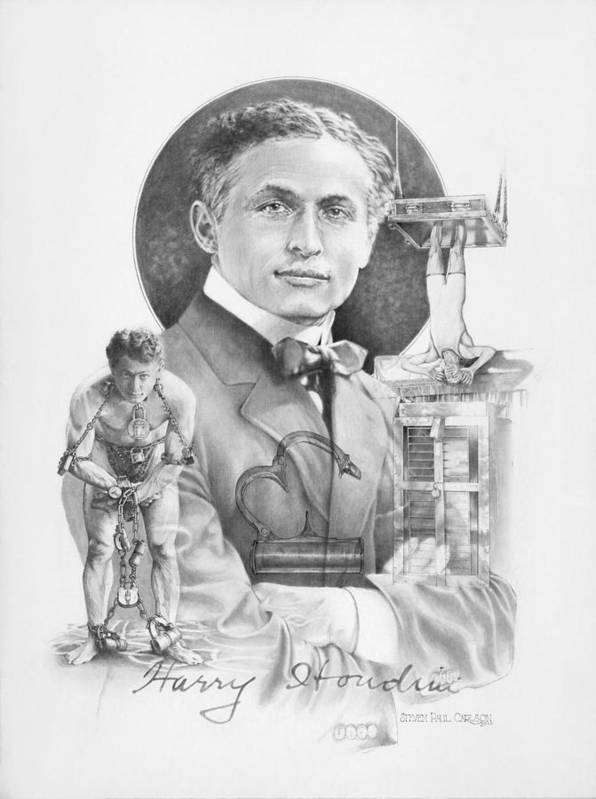 Harry Houdini Poster featuring the drawing The Great Houdini by Steven Paul Carlson