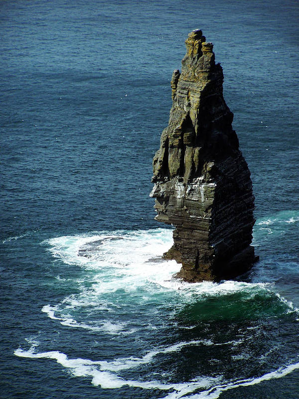 Irish Poster featuring the photograph The Great Sea Stack Brananmore Cliffs Of Moher Ireland by Teresa Mucha