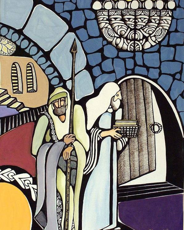 Poster featuring the painting The Great Synagogue Of Jerusalem by Maya Green