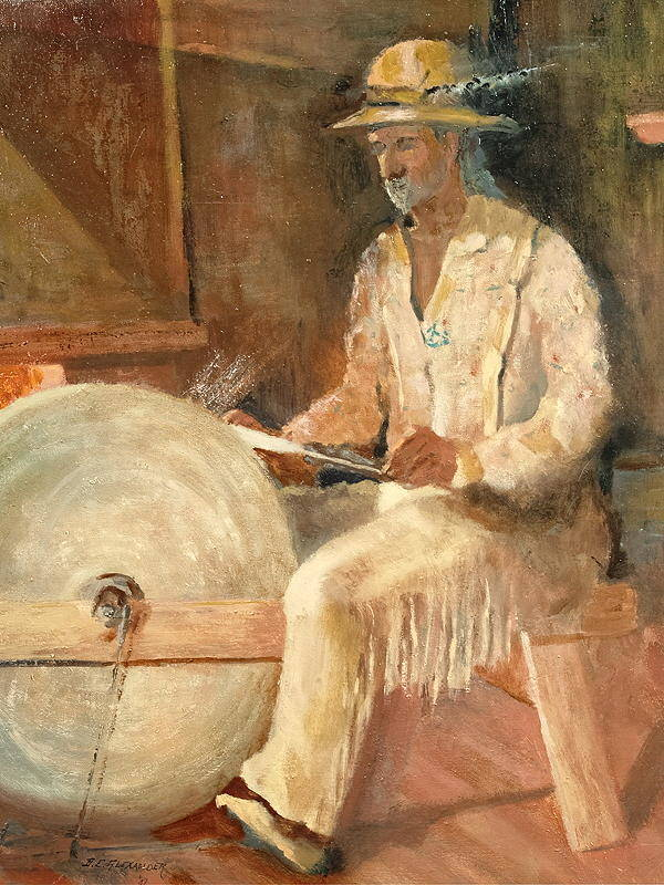 Historical Poster featuring the painting The Grinder by Bryan Alexander