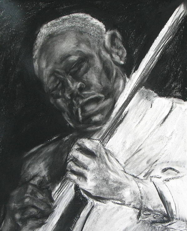Man Playing Guitar Poster featuring the drawing The Guitar Player by Patrick Mills