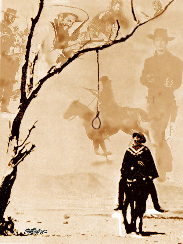 Clint Eastwood Poster featuring the digital art The Hangman's Tree by Seth Weaver