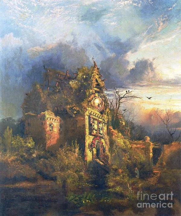 The Haunted House Poster featuring the painting The Haunted House by Thomas Moran