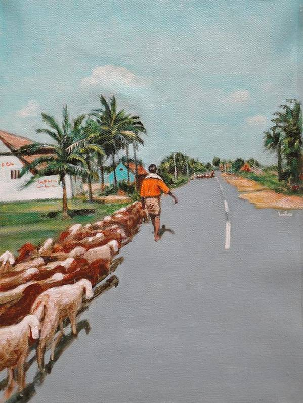 Poster featuring the painting The Herd 1 by Usha Shantharam