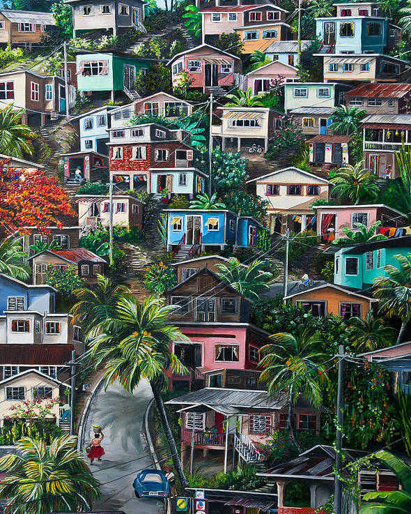 Landscape Painting Cityscape Painting Houses Painting Hill Painting Lavantille Port Of Spain Painting Trinidad And Tobago Painting Caribbean Painting Tropical Painting Caribbean Painting Original Painting Greeting Card Painting Poster featuring the painting The Hill   Trinidad by Karin Dawn Kelshall- Best