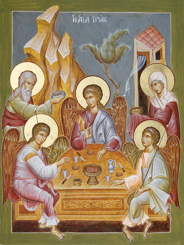 Holy Trinity Icon Poster featuring the painting The Holy Trinity by Julia Bridget Hayes