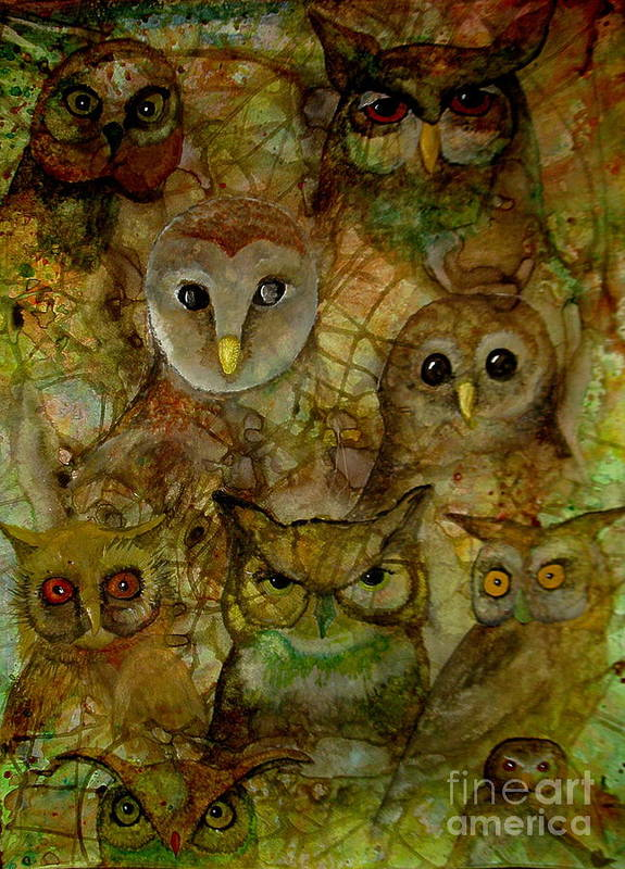 Owls Poster featuring the painting The Humble 9 by Amy Sorrell