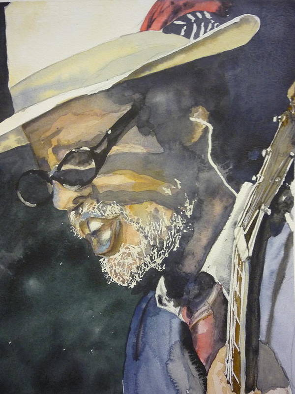 Portrait Poster featuring the painting The Jazz Singer by Barbi Vandewalle