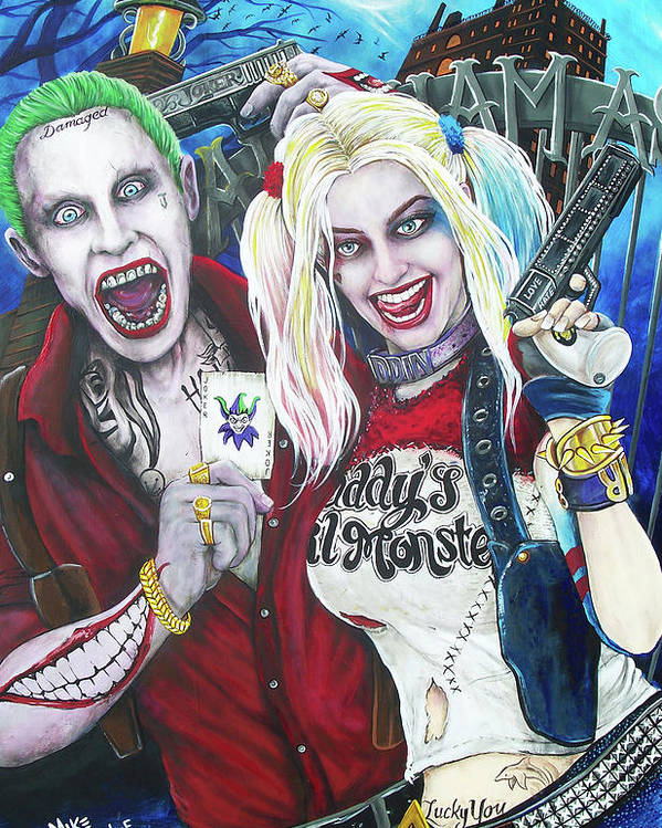 56b752132b39 The Joker And Harley Quinn Poster by Michael Vanderhoof