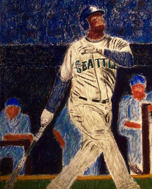 Ken Griffey Jr. Poster featuring the painting The Kid Feat Ken Griffey Jr by D Rogale