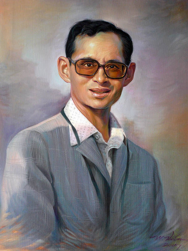 Portrait Poster featuring the painting The King Bhumibol by Chonkhet Phanwichien
