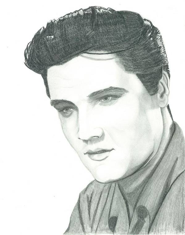Elvis Poster featuring the drawing The King by Seventh Son