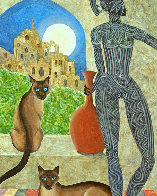 Siamese Cats Greek King Ancient City Full Moon  Poster featuring the painting The Kings Command by Jennifer Baird