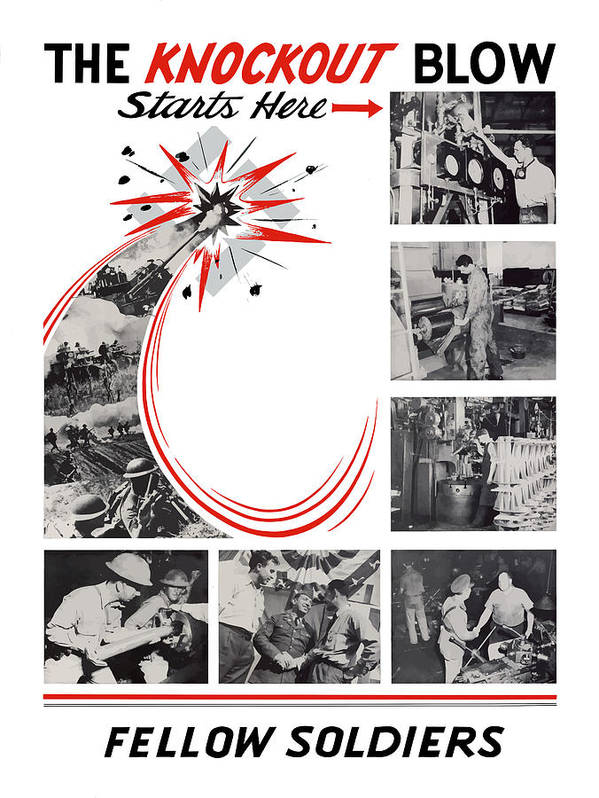 War Production Poster featuring the painting The Knockout Blow Starts Here by War Is Hell Store