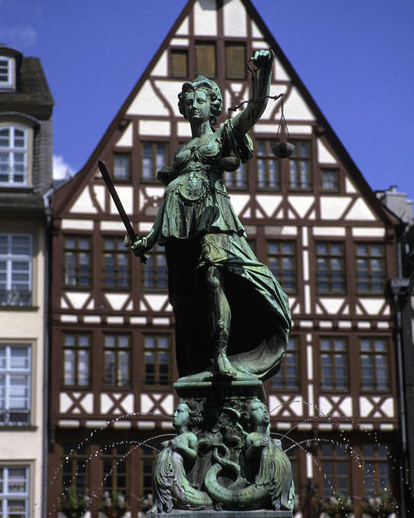 Frankfurt Poster featuring the photograph The Lady Of Justice And Her Scales by Taylor S. Kennedy