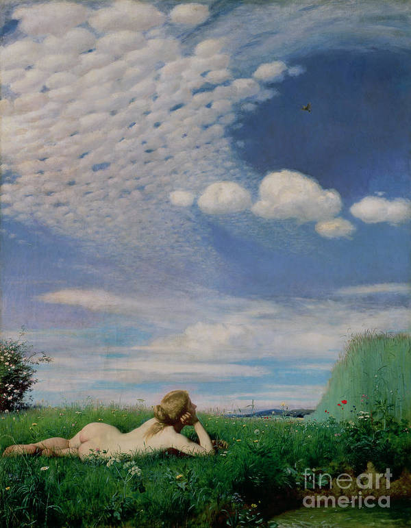 Nude Poster featuring the painting The Lark by Pal Szinyei Merse