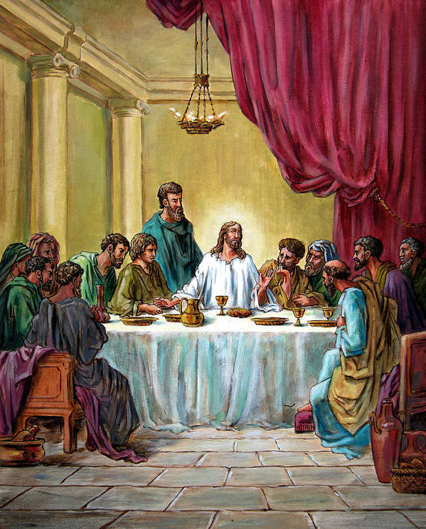 Jesus Poster featuring the painting The Last Supper by John Lautermilch