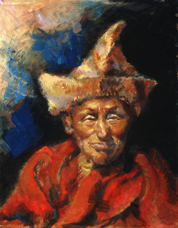 Oil Paintings Poster featuring the painting The Laughing Monk by Ellen Dreibelbis