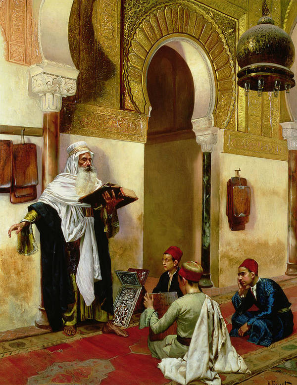 Children; Child; Teacher; Learning; Education; Orientalist; Imam; Moslem; Koran; Quran; Muslim; Religious; Religion; Middle Eastern; Arab Poster featuring the painting The Lesson by Rudolphe Ernst