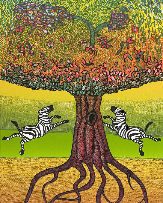 Landscape Poster featuring the mixed media The Life-giving Tree. by Jarle Rosseland