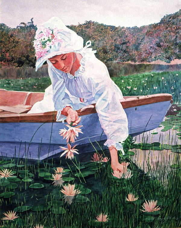 Watercolor Poster featuring the painting The Lily Gatherer by David Lloyd Glover