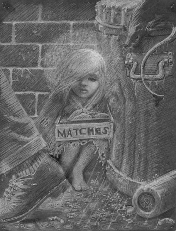 Hans Christian Andersen Poster featuring the drawing The Little Matchseller by David Dozier