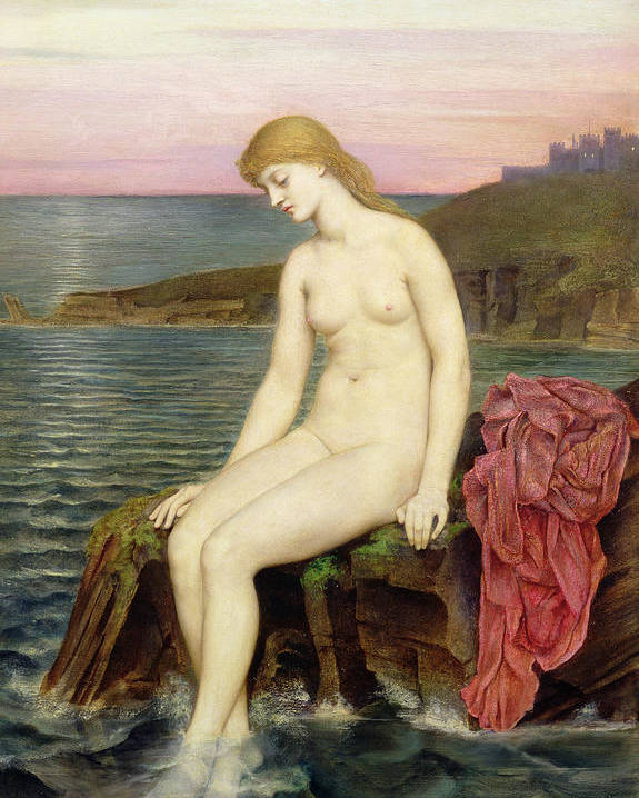 Rocks; Female; Nude; Girl; Mermaid; Hans Christian Andersen; Thoughtful; Pensive; Sunset; Crescent Moon; Castle; Cliff Poster featuring the painting The Little Sea Maid by Evelyn De Morgan