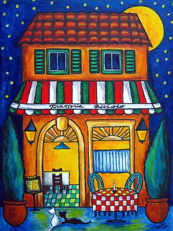 Blue Poster featuring the painting The Little Trattoria by Lisa Lorenz