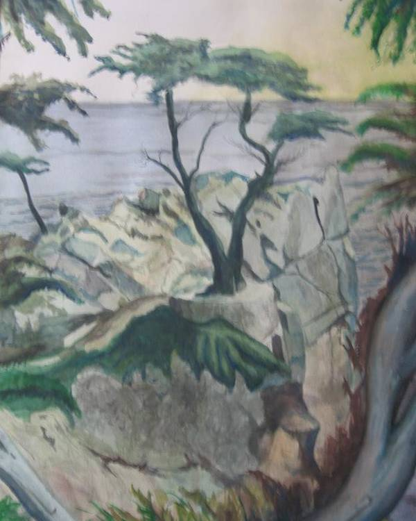 Seascape Poster featuring the painting The Lone Cypress by Matthew Handy