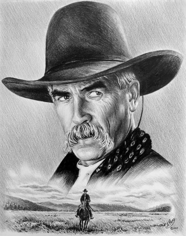 Sam Elliot Poster featuring the drawing The Lone Rider by Andrew Read