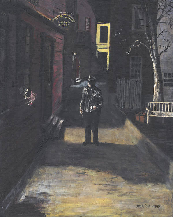Police Officer Poster featuring the painting The Lonely Beat by Jack Skinner