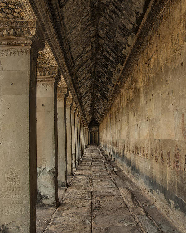 Hallway In Angkor Wat Poster featuring the photograph The Long Hall by Nichon Thorstrom