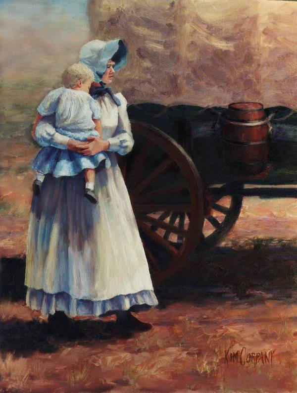 Pioneer Poster featuring the painting The Long Walk  Pioneers Traveling Westward by Kim Corpany