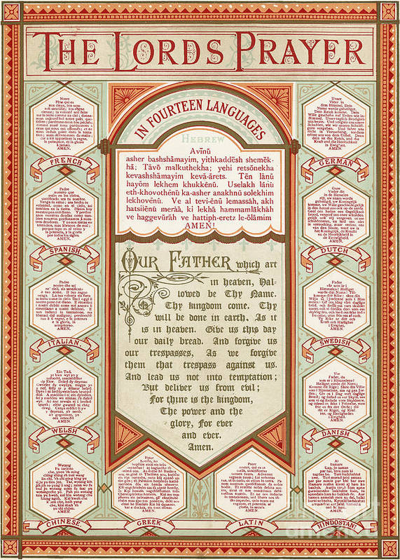 The Lord S Prayer In 14 Languages Poster By English School