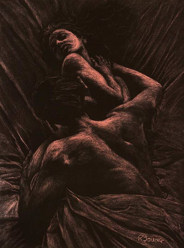 Nude Poster featuring the pastel The Lovers by Richard Young